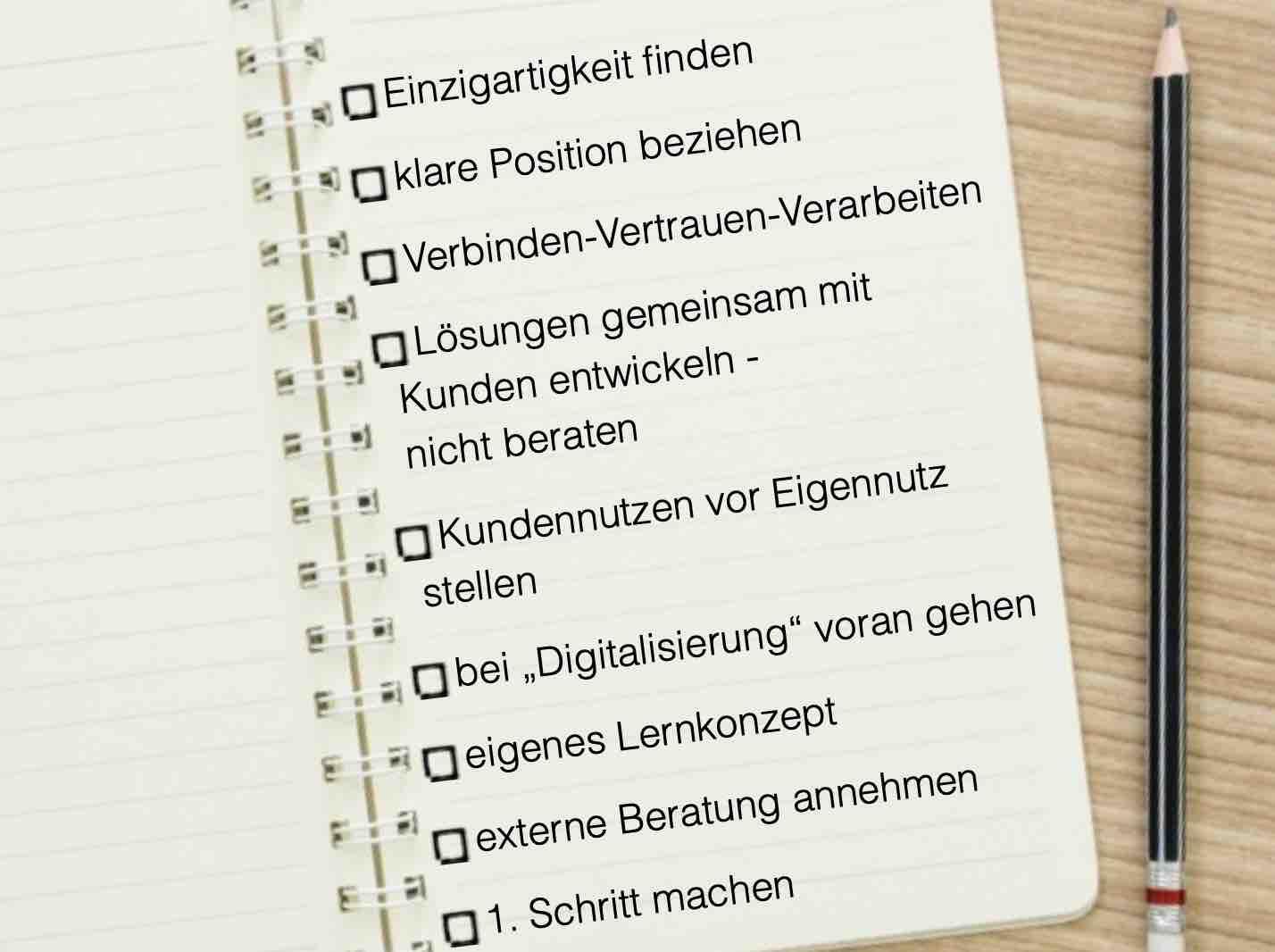 Checkliste neue Wege gehen