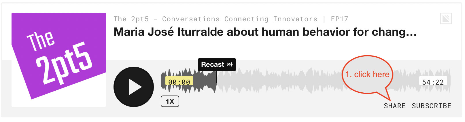 Podcast einbetten Schritt 1